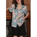 Classic Womens Floral Printed Button Down Lapel Collar Short Sleeve Regular Fit Shirt in Blue