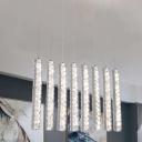 Chrome Linear Multi Pendant Light Minimal LED Crystal-Block Hanging Ceiling Lamp