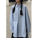 Vintage Solid Color Slit Tied Sides Long Sleeve Point Collar Button-up Long Oversize Shirt Top for Girls