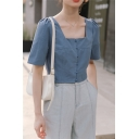 Simple Girls Solid Color Button Down Square Neck Short Puff Sleeve Relaxed Fit Crop Blouse Top