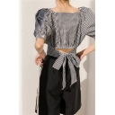 Novelty Womens Plaid Button Down Pleated Detail Bow Back Square Neck Short Puff Sleeve Slim Fit Crop Blouse Top