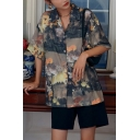 Vintage Womens Floral Printed Button Down Collar Short Sleeve Regular Fit Shirt in Black