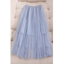 Gorgeous Ladies Solid Color Patchwork Tiered Mesh Sequined Dots Detail Elastic Waist Midi A Line Skirt in Blue