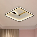 Round/Square Bedroom Ceiling Flush with Clock Design Acrylic LED Minimalist Flush Lamp in Black/Gold