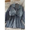 Creative Womens Solid Color Button Down Twist Front Collared Long Puff Sleeve Regular Fit Two Piece Shirt