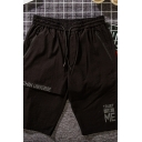 Mens Simple Shorts Letter Ethan Universe Printed Zipper Pocket Drawstring Knee-length Fitted Lounge Shorts