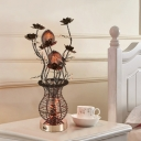 LED Nightstand Lighting Art Deco Floral and Vase Aluminum Wire Table Lamp in Black and Silver