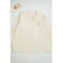 Fashionable Womens Cake Embroidery Print Detail Button Down Triple Peter Pan Collar Long Sleeve Loose Fit Shirt
