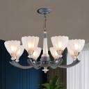 Grey Finish Conic Pendulum Light Countryside White Glass 6/8-Light Living Room Chandelier