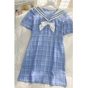 Girls Preppy Look Plaid Pleated Side Zip Bow Patchwork Sailor Collar Short Sleeve Midi A Line Dress in Blue
