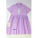 Cute Summer Girls Ship Penguin Embroidery Print Striped Tie Pleated Polo Collar Short Sleeve Midi Smock Dress