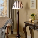 Conic Shade Fabric Floor Lighting Traditional Single Head Study Room Standing Floor Lamp in Brown