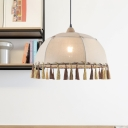 Flaxen 1 Light Suspension Light Farmhouse Fabric Domed Shade Hanging Lamp with Fringes Deco, 14