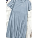 Simple Solid Color Round Neck Short Sleeve Midi T Shirt Dress for Ladies