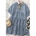 Preppy Girls Daisy Printed Tie Pleated Tiered Patchwork Collared Short Puff Sleeve Midi Wide Smock Dress