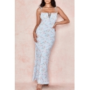 Ladies Blue All over Floral Printed Tied Shoulder Ruched Gorgeous Maxi Bodycon Slip Dress