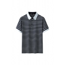 Casual Men's Polo Shirt Striped Pattern Contrasted Trim Button Spread Collar Short Sleeve Regular Fitted Polo Shirt