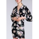 All over Floral Print 3/4 Sleeve V-neck Casual Short Sheath Dress in Black
