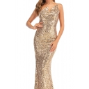 Popular Womens Sequined Asymmetric Neck Backless Maxi Fishtail Cocktail Slip Dress in Apricot