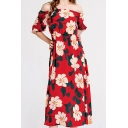 Trendy Womens All over Floral Printed Short Sleeve Off Shoulder Mid A-line Holiday Dress