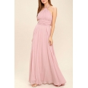 Glamorous Ladies Pink Sleeveless Bow Tied Halter Open Back Maxi Pleated A-line Tank Dress in Pink