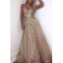Amazing Womens Sequins Embellished V-neck Hollow out Back Maxi Flowy Prom Dress in Brown