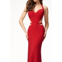 Fancy Womens Red Halter Cut out Open Back Maxi Fishtail Evening Cami Dress