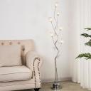 6 Bulbs Aluminum Wire Floor Lamp Art Deco Silver Finish Tree Living Room LED Floor Light with Orb Shade