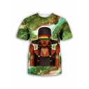 Unique Mens Cartoon Figure 3D Pattern Short Sleeve Crew Neck Relaxed Fit Tee Top