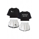 Stylish Womens Japanese Letter Footprint Graphic Short Sleeve Crew Neck Relaxed Crop Tee & Contrasted Shorts Set in Black