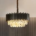 Modern Tiered Oblong Chandelier 4 Lights 3-Sided Crystal Prism Pendant Ceiling Lamp in Black