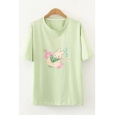 Casual Girls Cartoon Rabbit Graphic Short Sleeve Crew Neck Relaxed Fit Tee Top