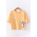 Stylish Womens Cartoon Cat Embroidered Panel Short Sleeve Round Neck Relaxed Cropped Tee