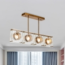 Rectangle Clear Crystal Glass Island Light Modernism 3/4 Heads Gold Finish Pendant Lamp Kit