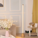 Gold Linear Floor Standing Lamp Minimal LED Iron Floor Lighting with Dome Wood Base
