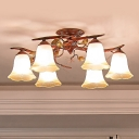 6-Head Semi Mount Lighting Country Branch Metallic Close to Ceiling Lamp with Flower Umber Glass Shade in Red Brown