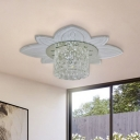 Cylinder Flushmount Light Minimalist Clear Crystal Glass LED Hallway Flush Lamp Fixture