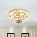 Clear Crystal Bead Dome Flushmount Modernism 4 Heads Ceiling Mounted Fixture for Living Room