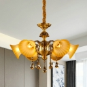 6 Bulbs Hanging Light Fixture Mid Century Bell Yellow Glass Chandelier Lamp in Brass