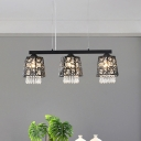 3-Head Dining Room Island Lamp Contemporary Black Finish Crystal Hanging Light Kit with Geometry Metal Shade