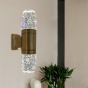 Brass Capsule Wall Lighting Ideas Simple Bubble Crystal Bedside LED Wall Sconce Light