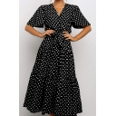 Casual Womens Ditsy Floral Printed Short Sleeve V-neck Bow Tie Waist Ruffled Maxi Pleated A-line Dress