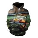 Trendy Men's Fish Stone 3D Pattern Drawstring Pocket Full Sleeve Loose Fit Hooded Sweatshirt