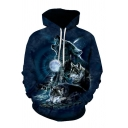 Creative Mens Moon Wolf 3D Print Drawstring Pocket Full Sleeve Loose Fitted Hoodie