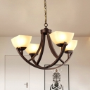 Metal Bronze Finish Chandelier Lighting Arched Arm 4/6-Light Rustic Hanging Ceiling Lamp with White Glass Shade