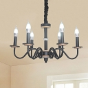 Black Finish Gooseneck Arm Hanging Lamp Kit Traditional Metal 6 Heads Dining Room Chandelier