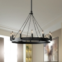 Black Finish 12-Bulb Hanging Pendant Country Style Metal Candelabra Chandelier Lighting with Ring Design