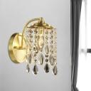 Single-Bulb Wall Mount Lighting Rustic Dangling Crystal Drips Wall Light Fixture in Brass
