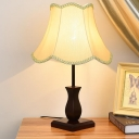 Beige/Burgundy Single Night Stand Light Retro Fabric Scalloped-Trim Flared Table Lamp for Living Room