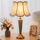 1 Head Scalloped Flared Table Lamp Rustic Green Fabric Night Light for Living Room